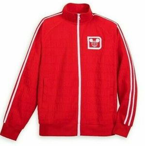Disney parks Men red zip track jacket Mickey logo